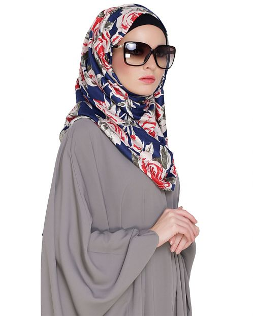 Blue Rose Printed Hijab