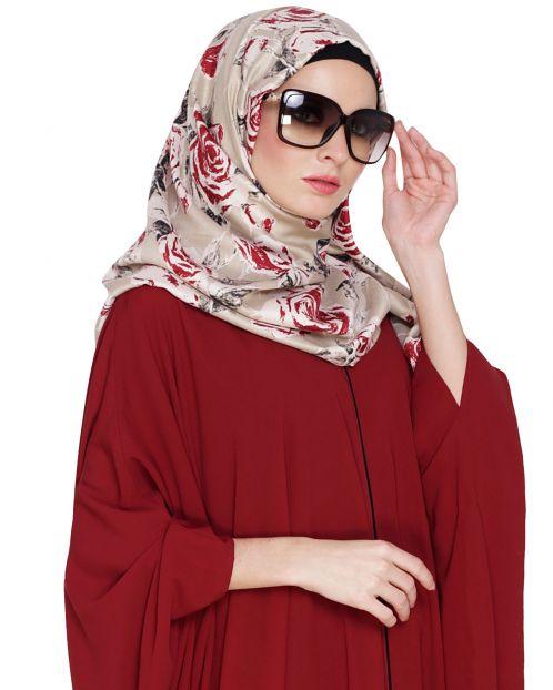 Beige Rose Printed Hijab