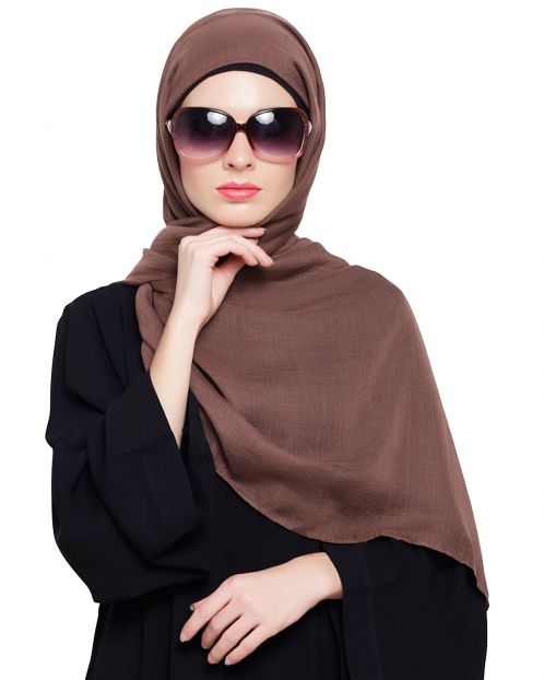 Brown Cotton Plain Hijab