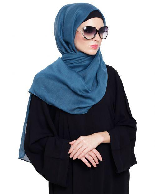 Turquoise Cotton Plain Hijab