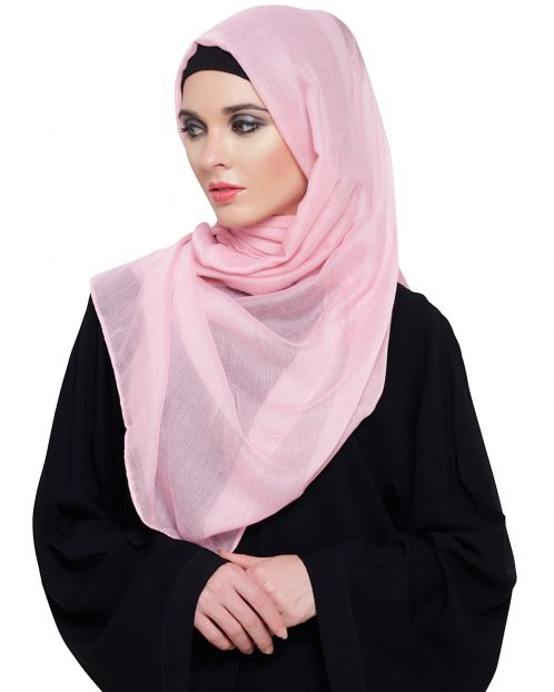 Powder Pink Cotton Plain Hijab