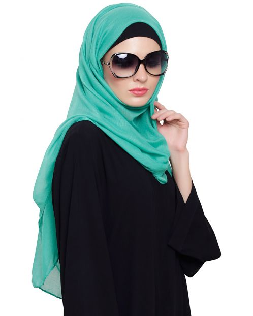 Green Cotton Plain Hijab