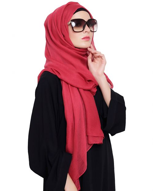 Maroon Cotton Plain Hijab