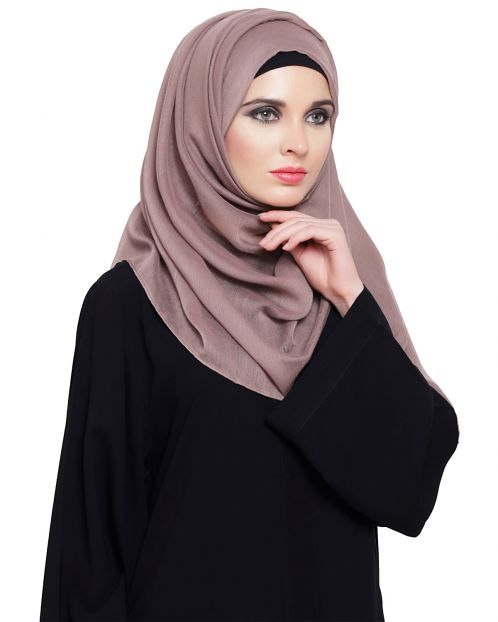 Dark Beige Cotton Plain Hijab