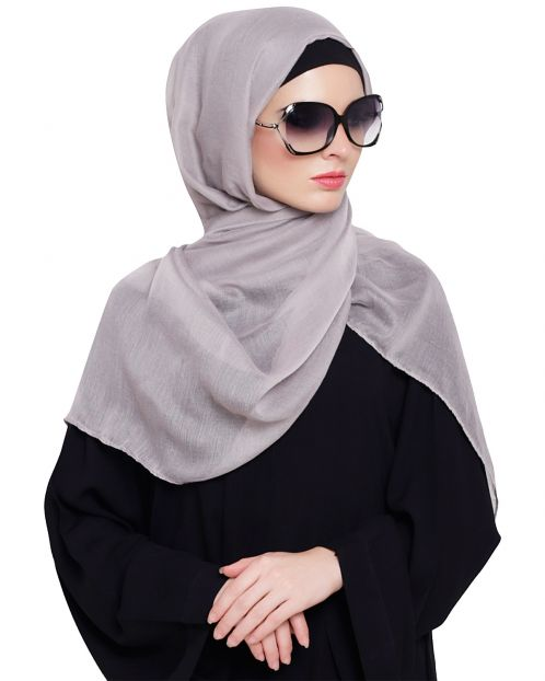 Light Grey Cotton Plain Hijab
