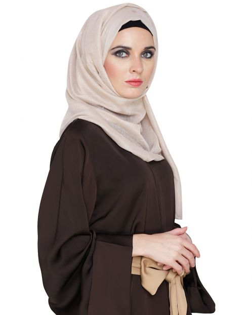 Beige Cotton Glitter Hijab