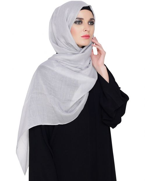 Light Grey Cotton Glitter Hijab