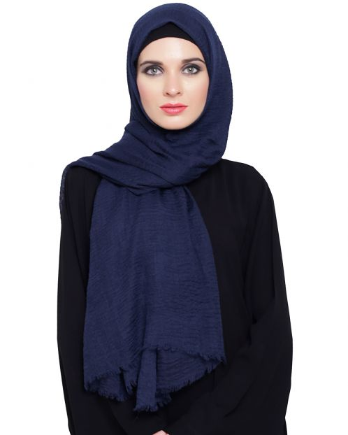 Crinkled Cotton Blue Hijaab