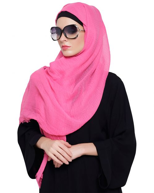 Crinkled Cotton Pink Hijab