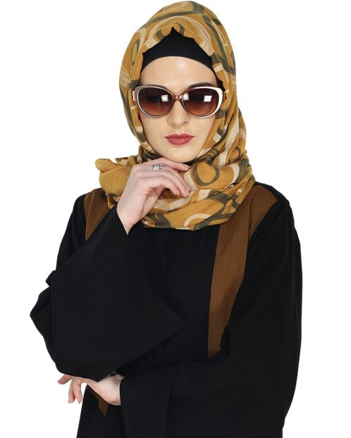 Brown Printed Casual Hijab