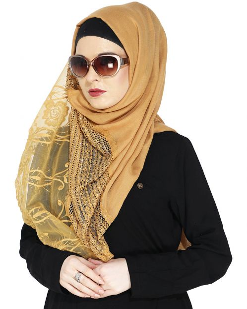 Designer Brown Hijab with Embroidery