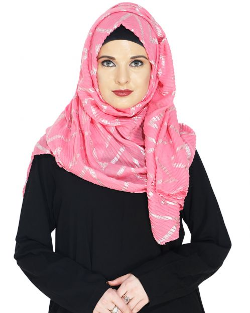 Crinked Pink Hijab with a Dash of Gold