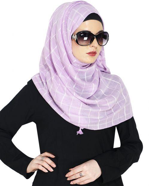 Purple Hijab with white checks