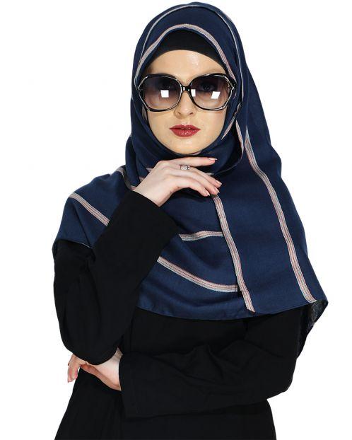 Striped Blue Casual Hijab