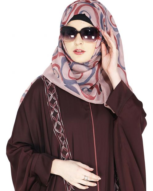 Printed Pink and Red Casual Hijab