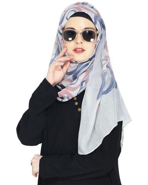 Printed White Casual Hijab
