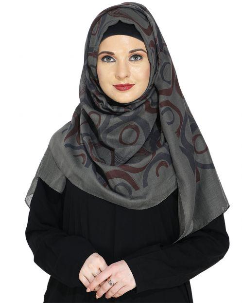 Printed Grey and Maroon Casual Hijab