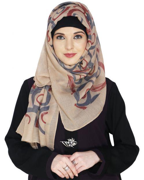 Printed Beige and Maroon Casual Hijab