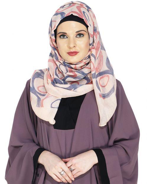 Printed Peach and Maroon Casual Hijab