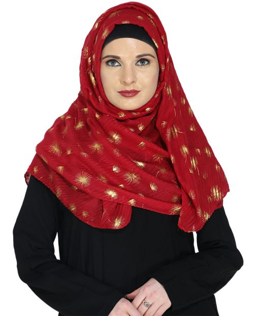 Crinked Red Hijab with a Dash of Gold