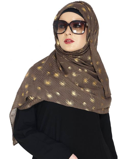 Crinked Brown Hijab with a Dash of Gold