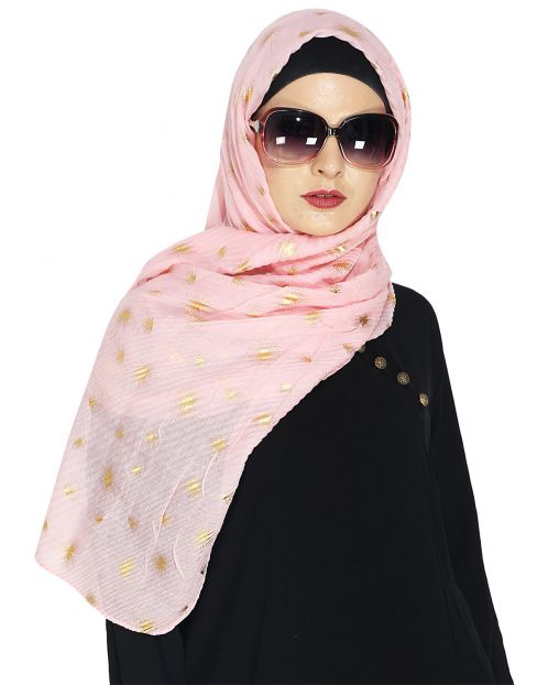 Crinked Baby Pink Hijab with a Dash of Gold