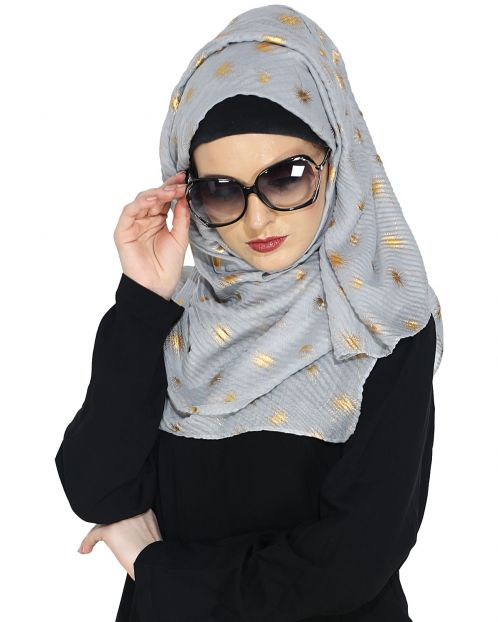 Crinked Grey Hijab with a Dash of Gold