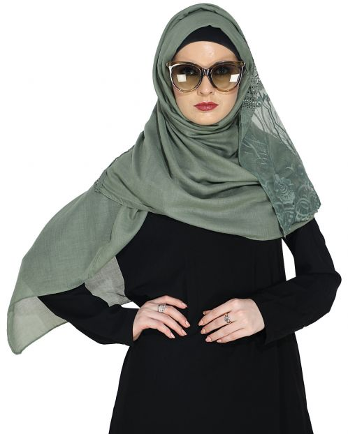 Designer Sea Green Hijab with Embroidery