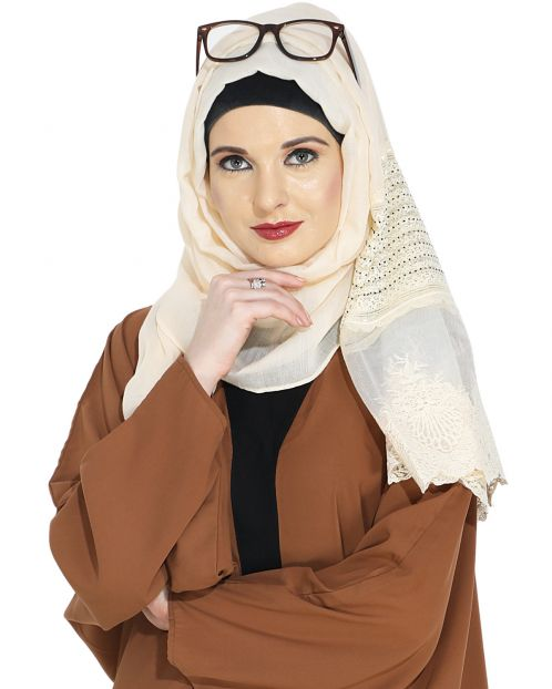 Designer Light Beige Hijab with Embroidery