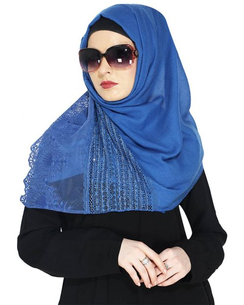 Designer Deep Blue Hijab with Embroidery
