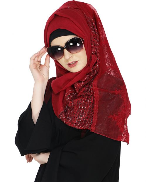 Designer Red Hijab with Embroidery