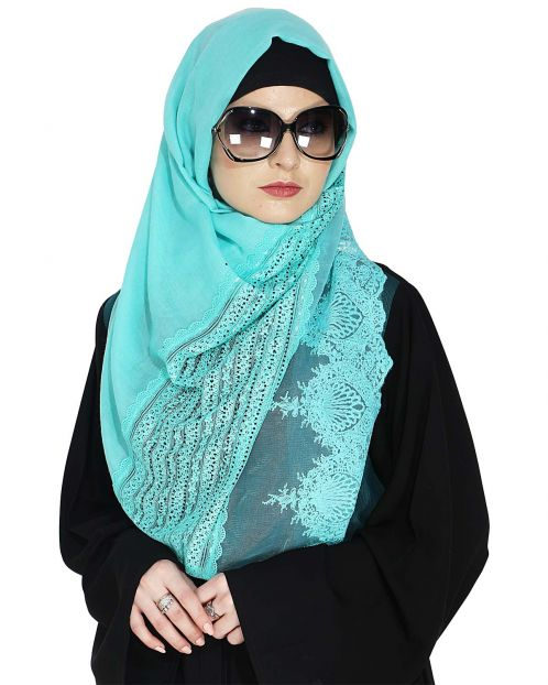 Designer Acqua Hijab with Embroidery