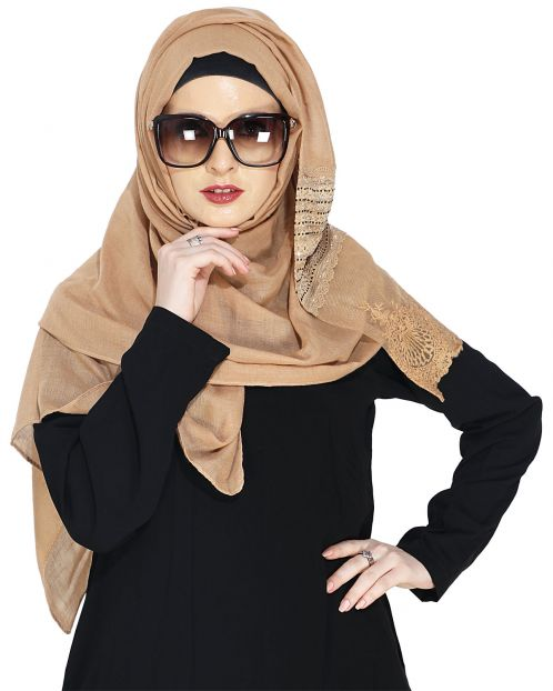 Designer Brown Hijaab with Embroidery