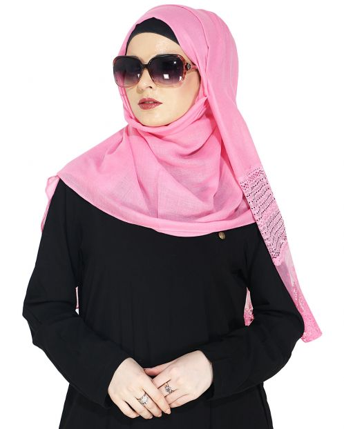 Designer Pink Hijab with Embroidery