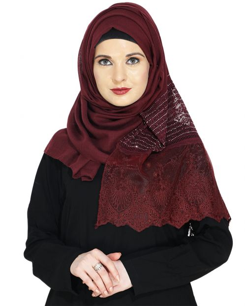 Designer Deep Maroon Hijab with Embroidery