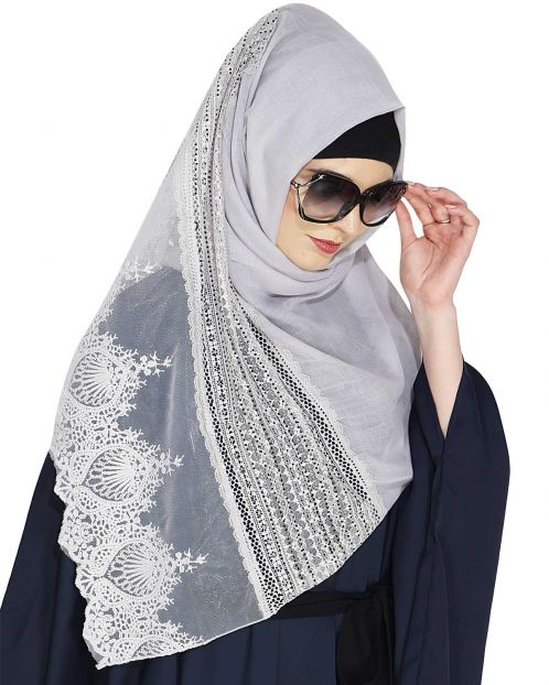 Designer Light Grey Hijab with Embroidery