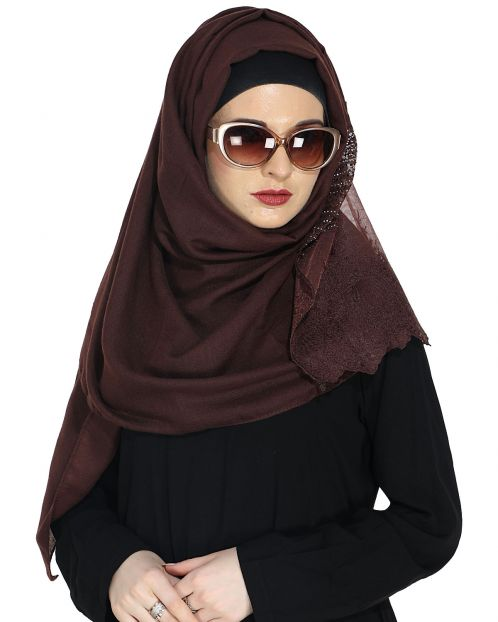 Designer Dark Brown Hijab with Embroidery