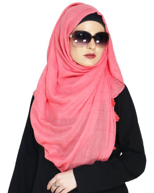 Sober Pink Self Check Hijab