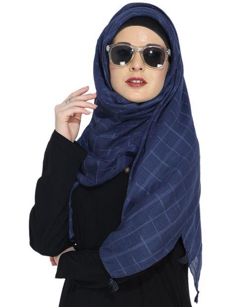 Sober Navy Blue Check Hijab