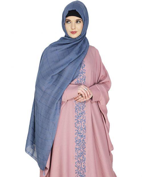 Sober Light Blue Check Hijab
