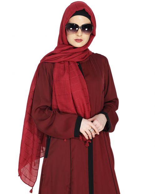 Sober Dark Maroon Check Hijab