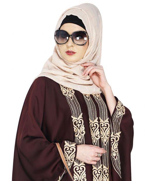 Sober Beige Self Check Hijab