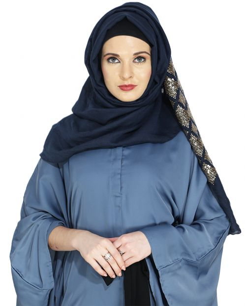 Jazzy Navy Blue Party Wear Hijab
