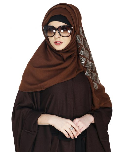 Jazzy Brown Party Wear Hijab
