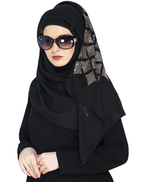 Jazzy Black Party Wear Hijab