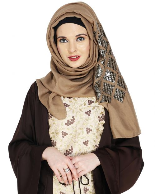 Jazzy Dark Beige Party Wear Hijab