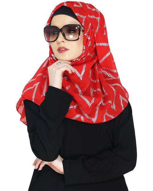 Crinkled Red Hijab with Silver Design