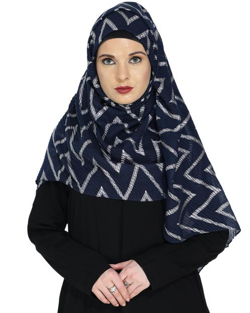 Crinkled Navy Blue Hijab with Silver Design
