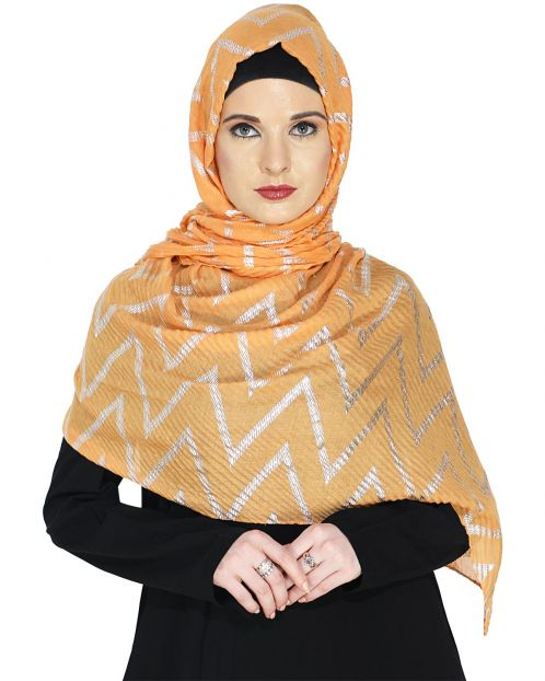 Crinkled Yellow Hijab with Silver Design