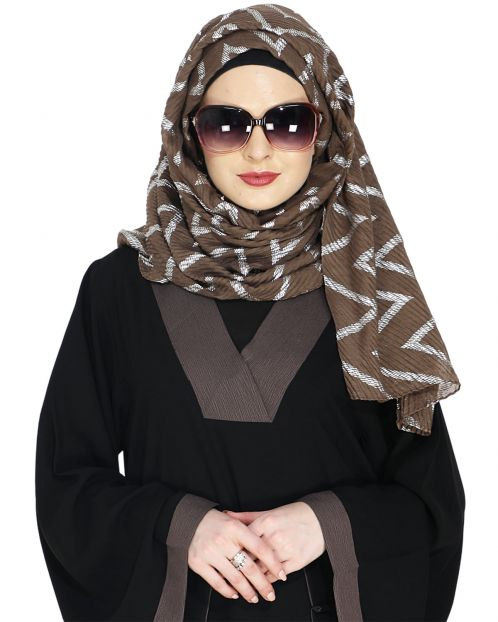 Crinkled Brown Hijab with Silver Design